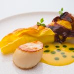 Grilled lasagne of scallop and Atlantic crab, pickled seaweed butter, red dulse (300240847)